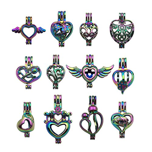 10pcs Mixed Shape Heart Rainbow Pearl Cage Bead Cages Pendants for Jewelry Making/Aromatherapy Essential Oil Scent Diffuser Locket Pendant m212 (Mixed No Duplicate)