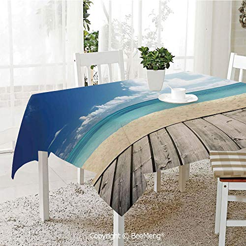 Large Family Picnic Tablecloth,Easy to Carry Outdoors,Landscape,Tropical Beach from Wooden Pier with Sky Landscape Summer View Image Decorative,Cream Turquoise White,59 x 104 inches (Right Pier Lighted)