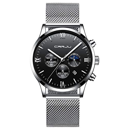 Mens Watches Fashion Waterproof Stainless Steel Analog Quartz Watch Men Casual Sport Chronograph Date Dress Wristwatch - Silver ()