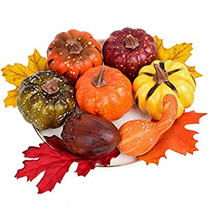Silk Flower Arrangements 12pcs Artificial Fake Pumpkins with Lifelike Maple Leaves,Realistic Acorn with Cap,Pumpkin Ornament for Halloween Thanksgiving Fall Harvest Home Decoration