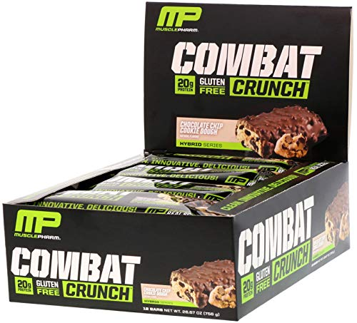Combat Smores (MusclePharm Combat Crunch Protein Bar, Multi-Layered Baked Bar, Gluten-Free Bars, 20 g Protein, Low-Sugar, Low-Carb, Gluten-Free, Chocolate Chip Cookie Dough Bars, 12 Servings)
