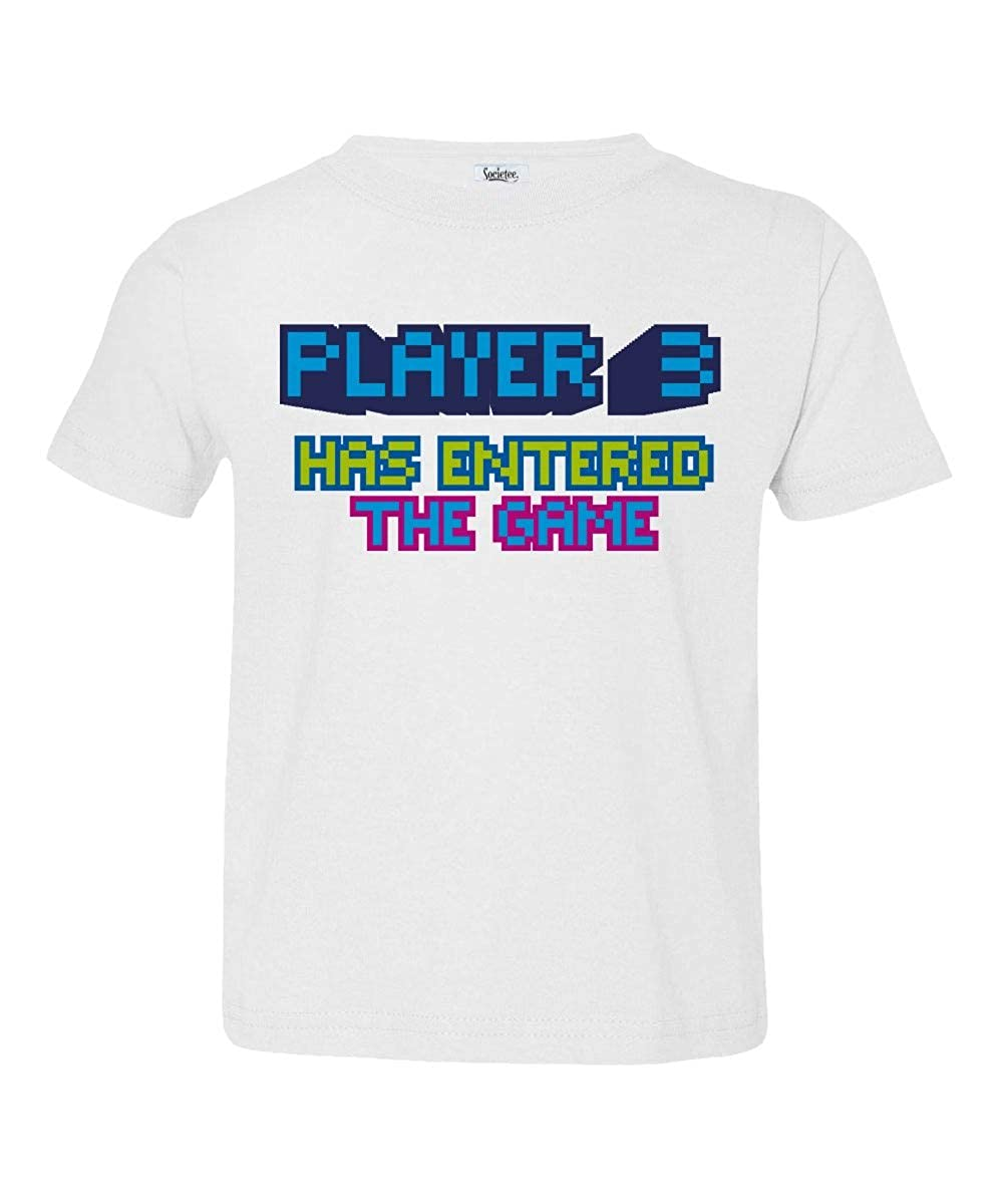 Societee Player 3 Has Entered The Game Cool Little Kids Girls Boys Toddler T-Shirt