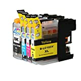 4 Pack - Compatible Ink Cartridges for Brother LC-103 LC-101 LC-103XL LC-103BK LC-103C LC-103M LC-103Y Inkjet Cartridge Compatible With Brother DCP-J152W MFC-J245 MFC-J285DW MFC-J4310DW MFC-J4410DW MFC-J450DW MFC-J4510DW MFC-J4610DW MFC-J470DW