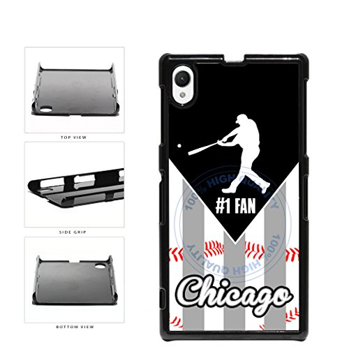 Chicago Black and White Baseball Number One Fan Plastic Phone Case Back Cover For Sony Xperia Z1 comes with Security Tag and MyPhone Designs(TM) Cleaning Cloth