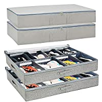 Vailando Under Bed Shoe Storage Organizers and Cotton Fabric Bags, 4 Pc Set, Adjustable Space Saving Dividers for Storing Footwear, Clothes, Coats, and Linen