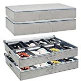 Under Bed Shoe Storage Organizers and Cotton Fabric Bags, 2 Pc Shoe Organizers with Adjustable Dividers and 2 Pc Cotton Storage Bags with Large Capacity for Storing Footwear, Clothes, Coats, and Linen
