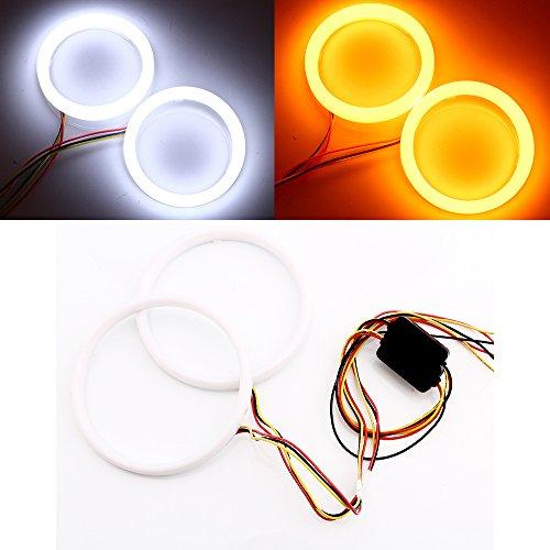 Qasim 1-Pair 120MM White+Amber Switchback 144SMD 4014 LED Halo Ring Angel Eyes Fog Warning Lights 12V - Amber White Ring
