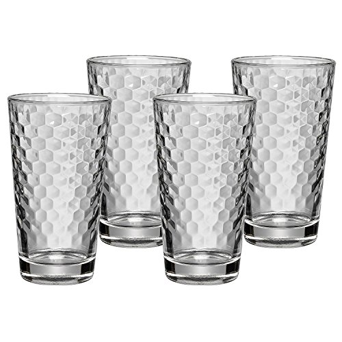 WMF Tumbler Glasses Set of 4 Tumblers with Honeycomb Structure Cocktail Long Drink Glass Heat Resistant Dishwasher Safe, Glass, Transparent, 6.5-Inch x 6.5-Inch x 6.0-Inch (Wmf Honey)