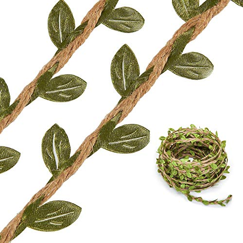Hecaty 132 Feet Artificial Vine Fake Foliage Leaf Plant Garland Rustic Jungle Vines with Twine for Baby Shower Wreath Wedding Home Decor(132 ft with Twine) (Foliage Fairy Green)