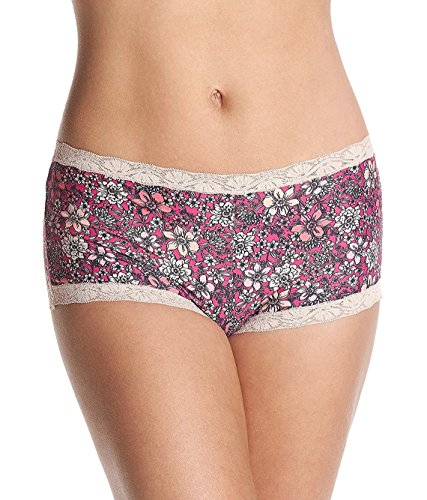 Maidenform Women's Microfiber with Lace Boyshort , Fancy Floral Print/Fantastic Fuchsia, 8