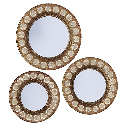 Household Essentials Gold Sunburst 3-Piece Mirror Set - Antique Bronze