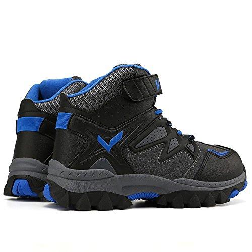 Ashion Niños Senderismo Zapatos Botas De Nieve Que Caminan Antideslizante Hebilla De Acero Único Impermeable Invierno Escalada Al Aire Libre De Algodón Zapatilla De Deporte Azul