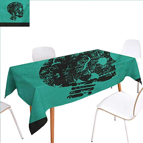 familytaste Skull Printed Tablecloth Human Skeleton Theme Abstract Art Skull Design Illustration Artwork Print Rectangle Tablecloth 50