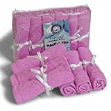 Washcloths All Natural Cleaning Wipes, Reusable Soft Organic Cotton Bamboo Towels, Non-Allergic Gentle for Eczema Absorbent Eco Friendly, Baby Shower Ideas, Best Mom Gift in Pink Blue or White 6 Pack