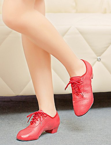 ShangYi Women's Dance Shoes Jazz Leather Low Heel Black/Red Red e6AQH