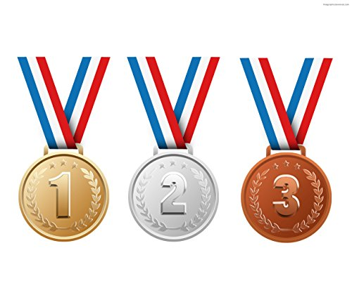 Neliblu 1st, 2nd & 3rd Place Gold Medals Bulk - Gold, Silver, and Bronze Olympic Style Award Medals Bulk Pack of 12 -