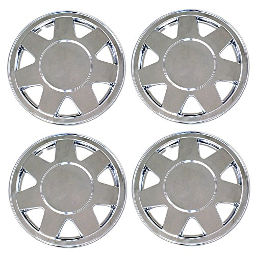 TuningPros WSC3-928C15 4pcs Set Snap-On Type (Pop-On) 15-Inches Chrome Finish Hubcaps Wheel Cover