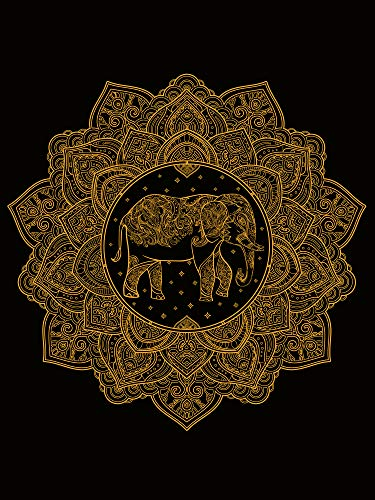 Zeronal Elephant Tapestry Indian Wall Decor Hippie Mandala Tapestry Wall Hanging Luxury Black Golden Color