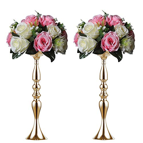 metal candle holder candle stand wedding centerpiece event road lead flower rack (Glod x 2) … (Gold Candlestick)