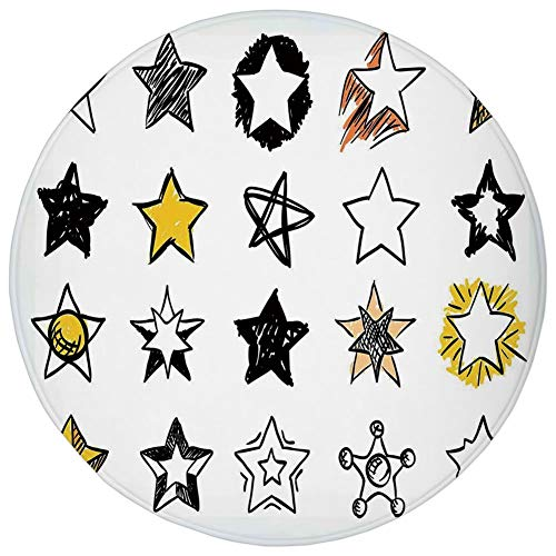 WEWELA Round Rug Mat Carpet,Star,Sweet Sixteen Stars Hand Drawn Style Colorful Art Rock Punk Themed Teen Room Design,Yellow White,Flannel Microfiber Non-Slip Soft Absorbent,for Kitchen Floor -