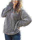 SENSERISE Womens 1/4 Zip Fleece Sherpa Pullover Winter Jacket Outwear Sweaters(Grey,X-Large)