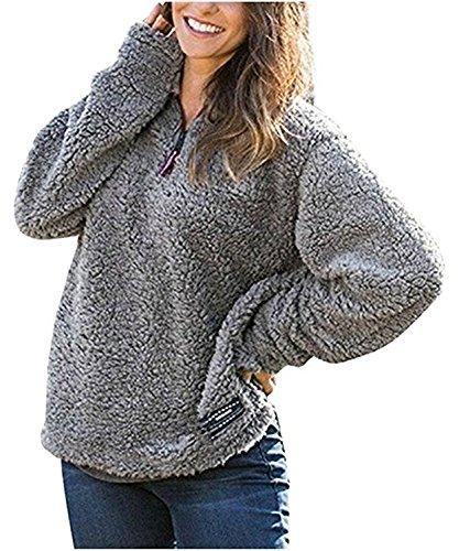 SENSERISE Womens 1/4 Zip Fleece Sherpa Pullover Winter Jacket Outwear - Zip Fleece Pullover Quarter