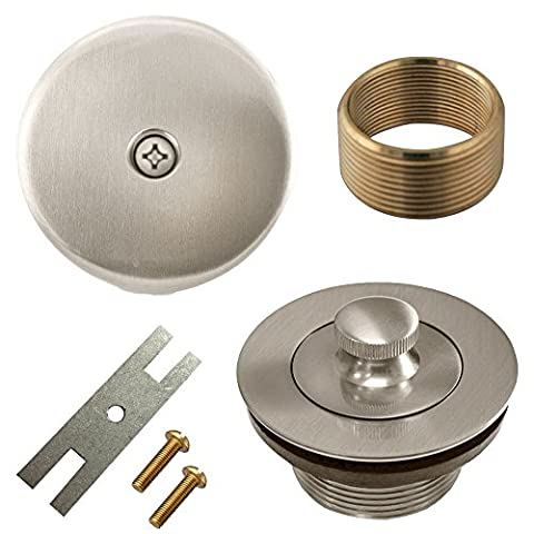 Lift and Turn Twist Bathtub Tub Drain Conversion Kit Assembly, All Brass Construction - Brushed (Bathtub Overflow Elbow)