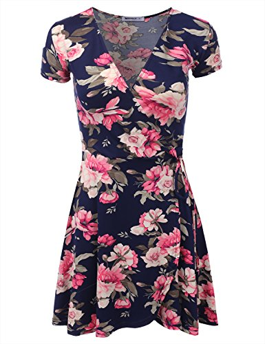 Doublju Short Sleeve Surplice Wrap A-Line Dress for Women with Plus Size NAVYPINK X-Large ()