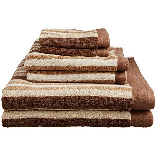 Blue Nile Mills Striped 2-Piece Bath Towel Set, Premium Long-Staple Cotton, Chocolate from Blue Nile Mills