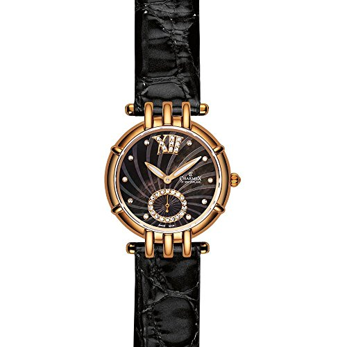 Charmex Pisa 6127 31mm Gold Plated Stainless Steel Case Black Calfskin Synthetic Sapphire Women's Watch