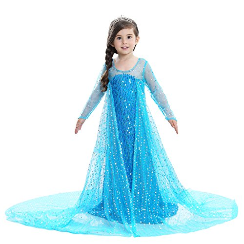LILYFUN Little Girl's Princess Snow Queen Costume Fancy Dress Christmas Party Costume with Crown