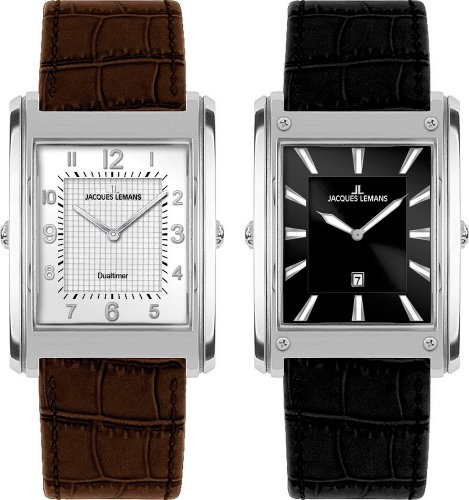 Jacques Lemans Format Turnable Dualtime 1-1533A Gents Leather Strap Watch