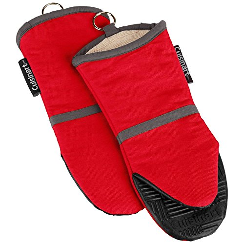 Cuisinart Oven Mitt with Non-Slip Silicone Grip, Heat Resistant to 500° F, Red, ()