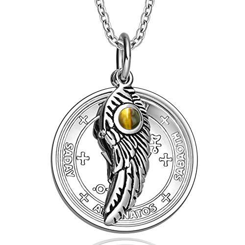 Sigil of Archangel Michael Amulet Magic Powers Angel Wing Charm Tiger Eye Pendant 18 Inch Necklace ()
