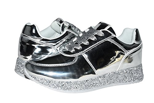 c76eece8e4e1 ROXY ROSE Women Fashion Metallic Sneaker Glitter Flatform Quilted Lace Up  Casual Shoes