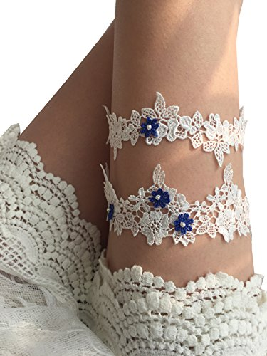 YuRong Wedding Floral Garter Set Beaded Lace Garter Set Bridal Garter G02 (Royal (Floral Garters)