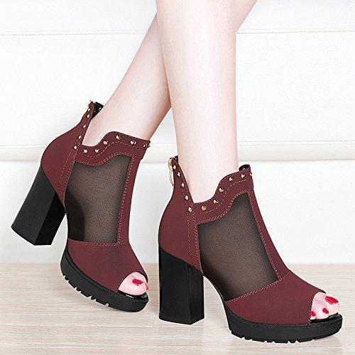 ladies' red UE da RUGAI Coreano sandali Tacchi estate ruvida donna scarpe Wine PtxqxZOwd
