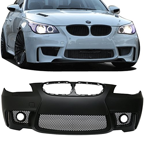 Front Bumper Cover Fits 2004-2010 BMW E60 5-series | 1M Style PP Black Added On Bodykits Body kitby IKON MOTORSPORTS | 2005 2006 2007 2008 2009