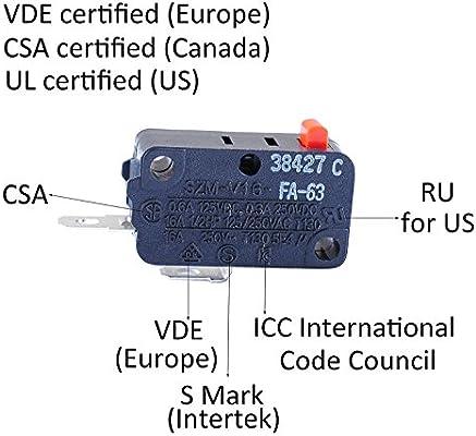 Ketofa D3V-16G-3C25 - Interruptor de puerta para microondas SZM ...