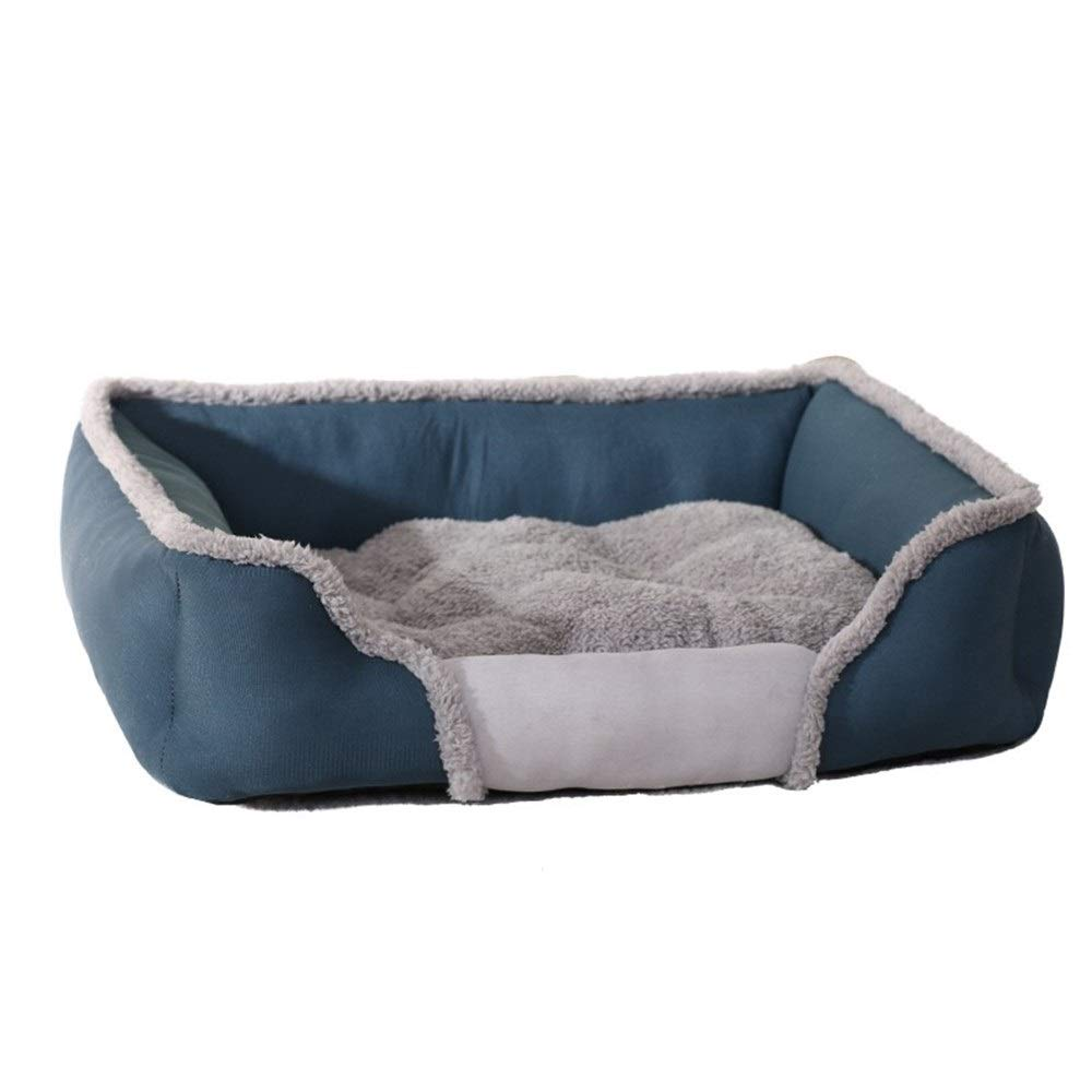 Light bluee 84x62x17cmZXH77f Soft Dogs Bed Sofa Nest UltraSoft Warm Paw Print Pet Bed Sofa Pet Dog Lounge Sofa Puppy Kitten Cave House (color   Light bluee, Size   84x62x17cm)