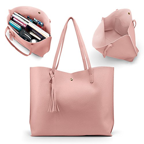 Oct17 Women Tote Bag - Tassels Leather Shoulder Handbags, Fashion Ladies Purses Satchel Messenger - Pink