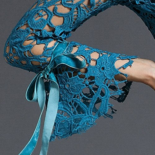Women`s Cotylédons Sirène Robes Flare Col Rond Manches Robe En Dentelle Mince