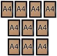 Kit 10 Molduras para quadro A4 21x30 Certificado Diploma Com Vidro (Preto)