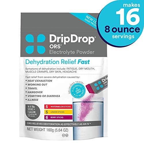 DripDrop ORS Electrolyte Hydration Powder Sticks, Watermelon, Berry, Lemon Flavor Variety in Convenient Pouch, Makes (16) 8oz - Relief Oral Solution