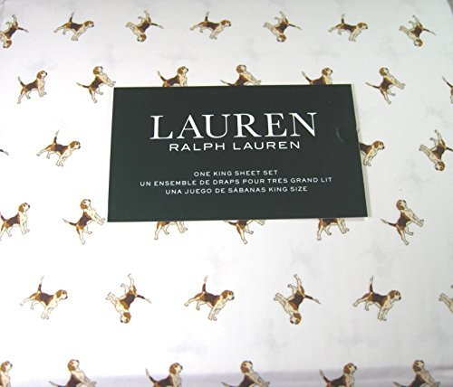 Lauren 4 Piece King Size Sheet Set Beagle Dogs 100% Cotton by Lauren