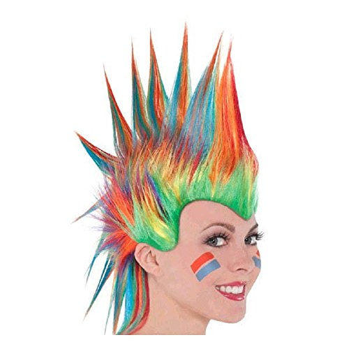 (Amscan Party Ready Team Spirit Mohawk Wig (1 Piece), Rainbow, 11.25 x 8.5