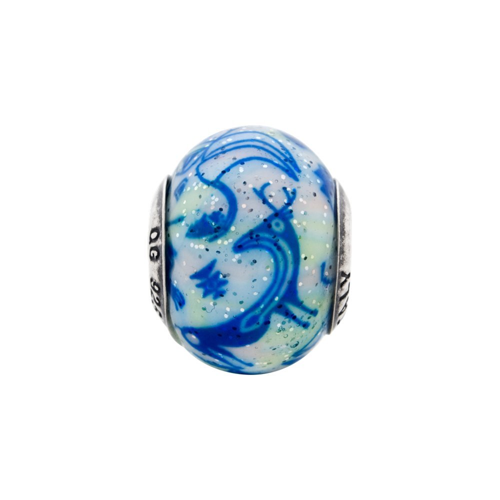 Sterling Silver Reflection Italian Decorative Blue and White Glass Bead