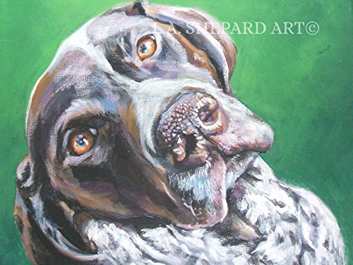 (A German Shorthaired Pointer dog art portrait print of an LA Shepard painting 8x10