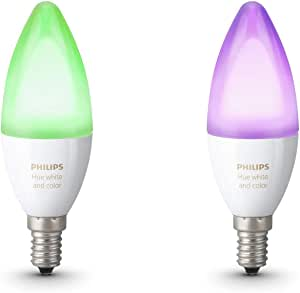 Philips Hue Hue Ambiance E14 Twin Pack (Works with Alexa), Synthetics, 6.5 W, White and Colour