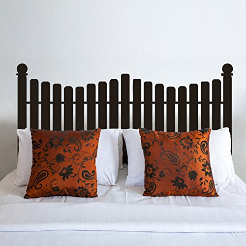 Headboard Decal vinyl Wall Decal Queen Full Twin Size Bed Picket Fence Decals Bedroom Decor(Black,m)